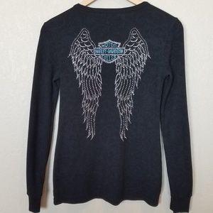 Harley Davidson Angel Wing Bling Shirt Long Sleeve